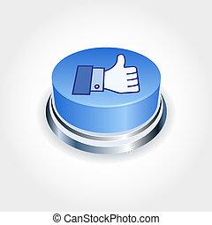 bleu, aimer, média, concept., haut, social, perspective., bouton, pouce