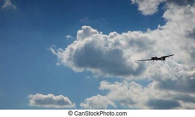 bleu, airplan, ciel, deux