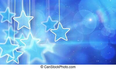 bleu allume, bokeh, étoiles, pendre