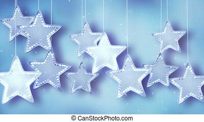 bleu allume, noël, étoiles, pendre