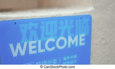 bleu, anglaise, signe, accueil, chinois, chinatown