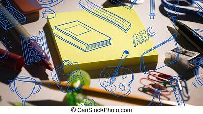 bleu, animation, école, doodles, papeterie, sur, équipement, bureau, défilement