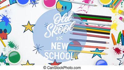 bleu, animation, école, nouveau, en mouvement, papeterie, cercle, doodles, skool, vieux, texte, sur, vs, coloré