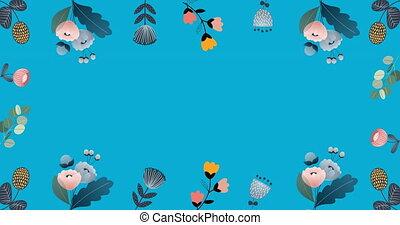 bleu, animation, en mouvement, fleurs, espace, hypnotique, copie, mouvement, fond