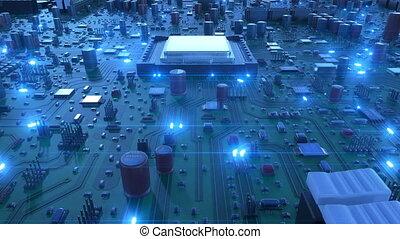 bleu, animation, signals., processeurs, carte mère, sur, voler, flares., fait boucle, planche, circuit, numérique, concept., technologie, unité centrale traitement, 3d