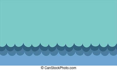 bleu, animation, vidéo, vagues