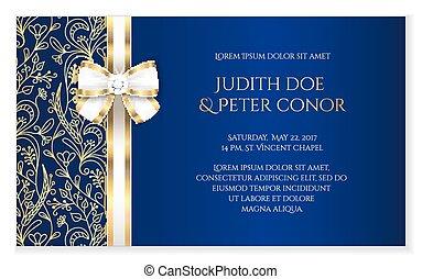 bleu, annonce, romantique, doré, royal, ornement, mariage, floral