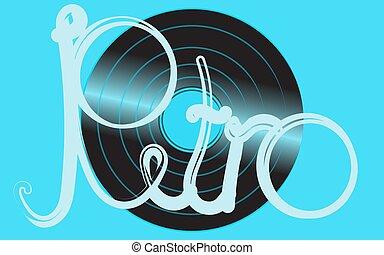 bleu, antique vieux, shimmering, inscription, vendange, illustration, musical, enregistrement, vinyle, vecteur, hipster, arrière-plan., phonographe, analogue, retro