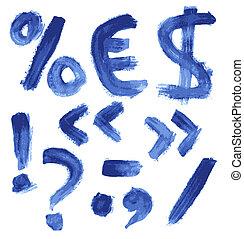 bleu, aquarelle, manuscrit, alphabet