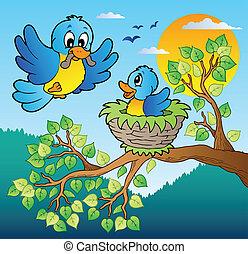 bleu, arbre, deux, branche, oiseaux