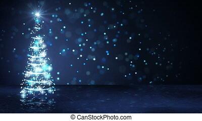 bleu, arbre, particules, incandescent, noël, boucle