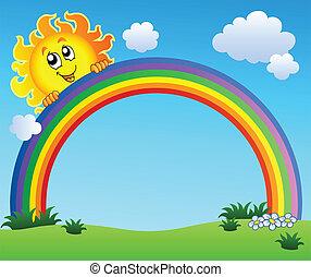 bleu, arc-en-ciel, ciel, tenue, soleil