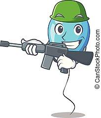 bleu, armée, balloon, forme, anniversaire, dessin animé