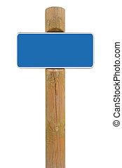 bleu, armature espace, signe métal, fond, planche, signage, blanc, copie