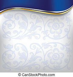 bleu, arrière-plan doré, vague
