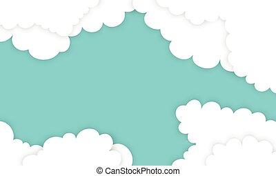 bleu, arrière-plan., papier, nuage, blanc, styles
