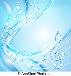 bleu, arrière-plan., résumé, musique note