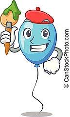 bleu, artiste, balloon, forme, anniversaire, dessin animé