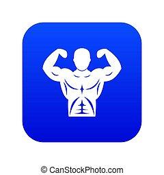 bleu, athlétique, numérique, icône, torse, homme
