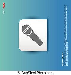 bleu, autocollant, -, orateur, bouton, icône