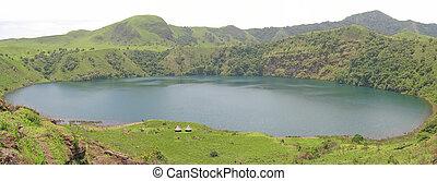 bleu, autour de, panorama, lac, vert, afrique, camerounais, herbe