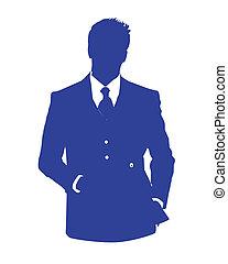 bleu, avatar, bureau, homme