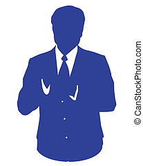 bleu, avatar, homme affaires