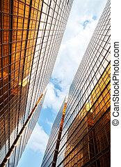 bleu, bâtiments, bureau, ciel, nuages, reflété, hong kong