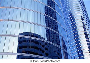 bleu, bâtiments, verre, gratte-ciel, miroir, façade