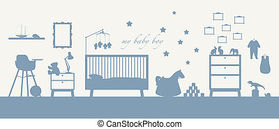 bleu, bébé, intérieur, garçon, salle, silhouette