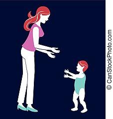 bleu bébé, marche, fond, mère