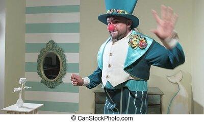 bleu, baguette magique, onduler, 4k, complet, manipule, magicien, chapeau