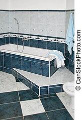 bleu, bain