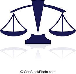bleu, balances, justice, -, vecteur, icône
