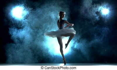 bleu, ballerine, séance entraînement