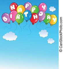 bleu, ballons, anniversaire, ciel, heureux