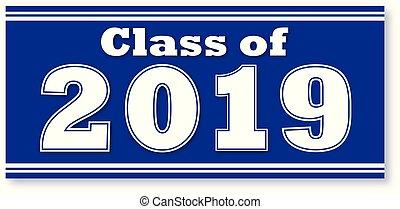 bleu, bannière, 2019, classe