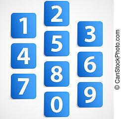 bleu, bannières, nombres, dix, 3d