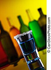 bleu, barre, alcool, boisson, sucre, coup