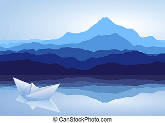 bleu, bateau, papier, lac, montagnes