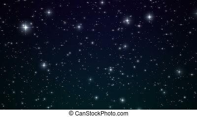 bleu, beau, fait boucle, hd, sky., animation., flares., scintillement, 4k, étoiles, nuit, ultra, 3840x2160.