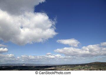 bleu, beau, nuages, nature, ensoleillé, ciel, jour, blanc, vue