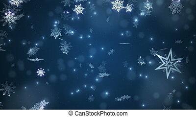 bleu, beau, tomber, flocons neige