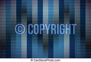 bleu, binaire, écran, mot, droit d'auteur