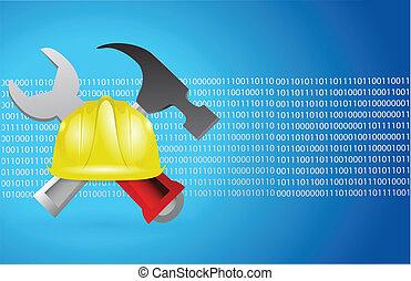 bleu, binaire, construction, outils, fond