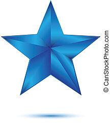 bleu, blanc, étoile, 3d