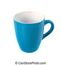 bleu, blanc, céramique, tasses, fond