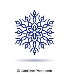 bleu, blanc, isolé, fond, flocon de neige