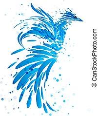 bleu, blanc, mythique, oiseau