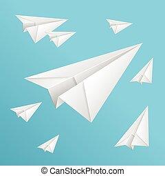 bleu, blanc, papier, ciel, avions